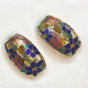 Vintage gold tone cloisonné clip-on earrings